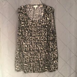Fashion bug ruffled black & white top 4X